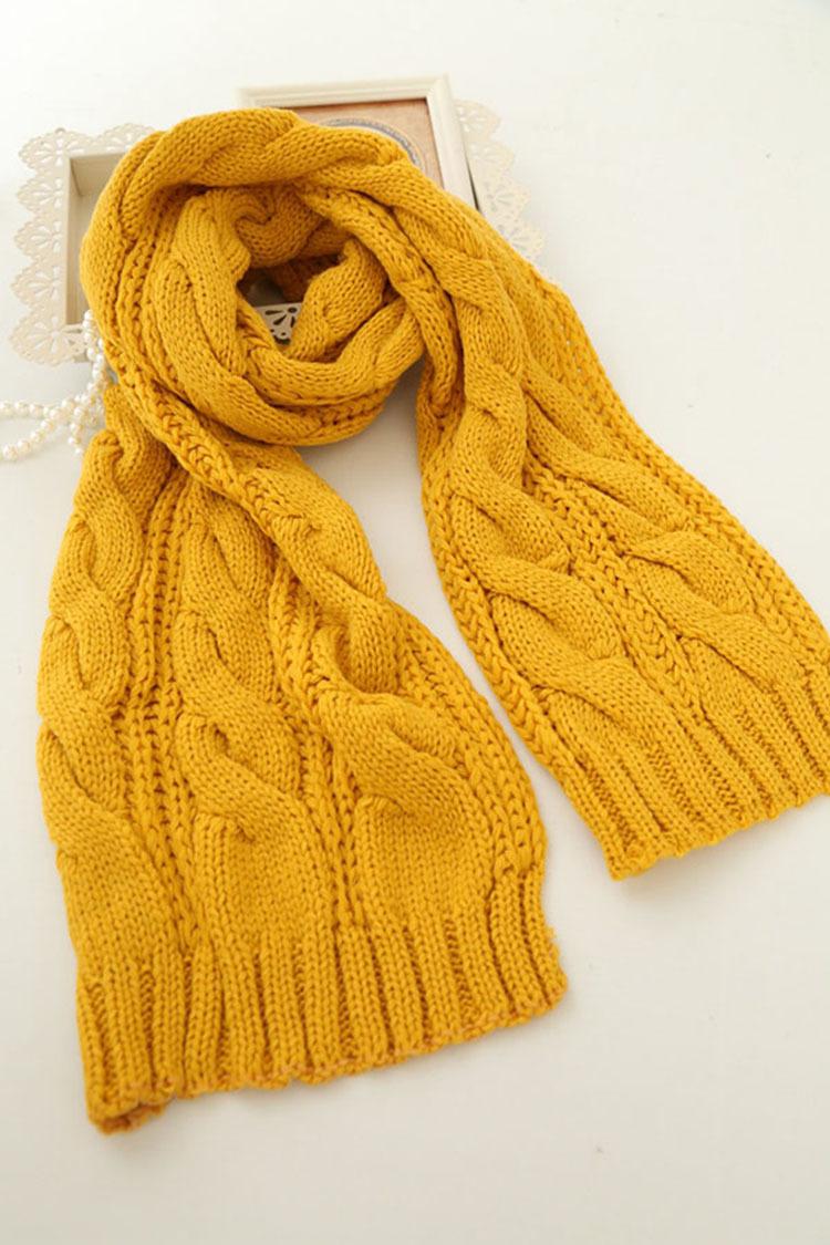 毛线编织麻花双色加厚时尚围巾