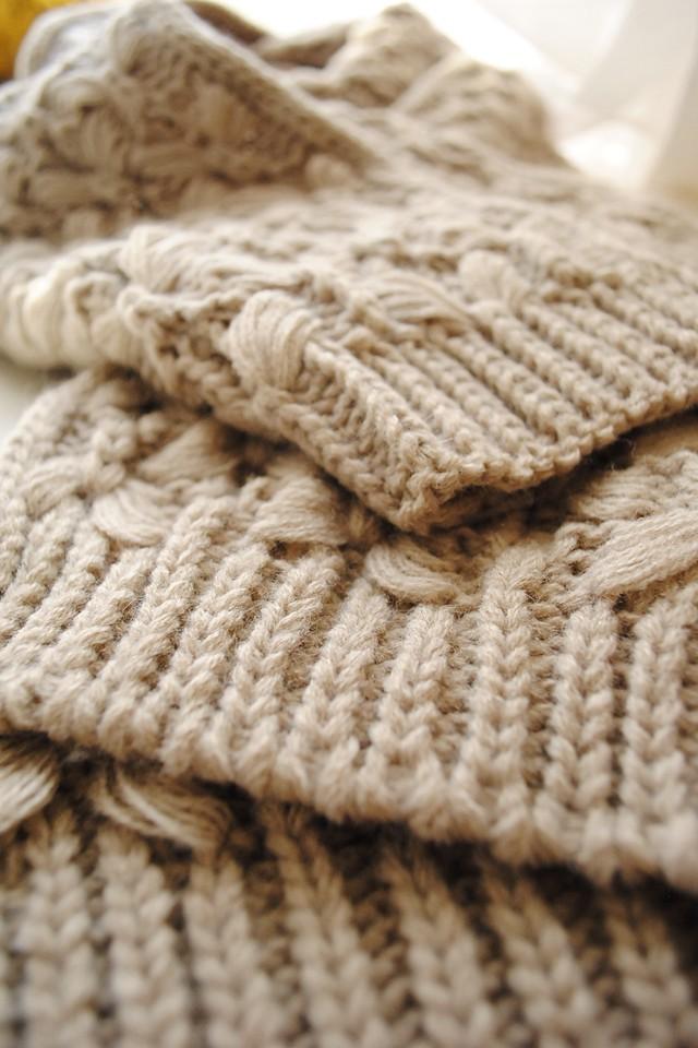 粗毛线麻花编织围巾