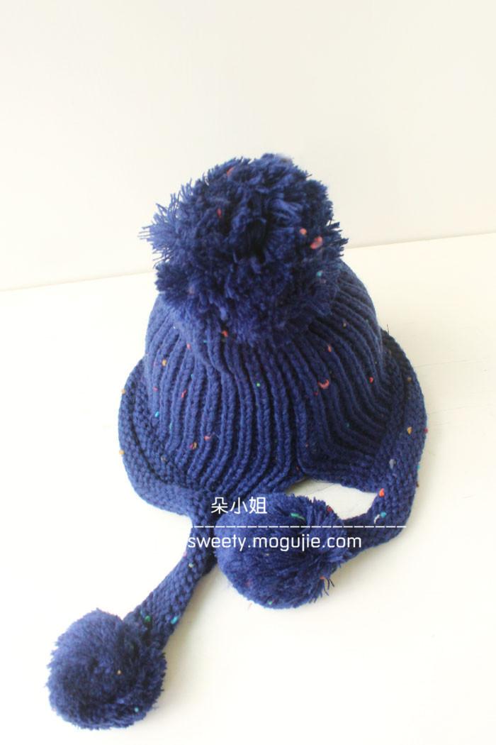 可爱文艺大球球毛线帽子