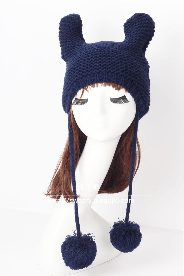 可爱耳朵保暖毛线帽子