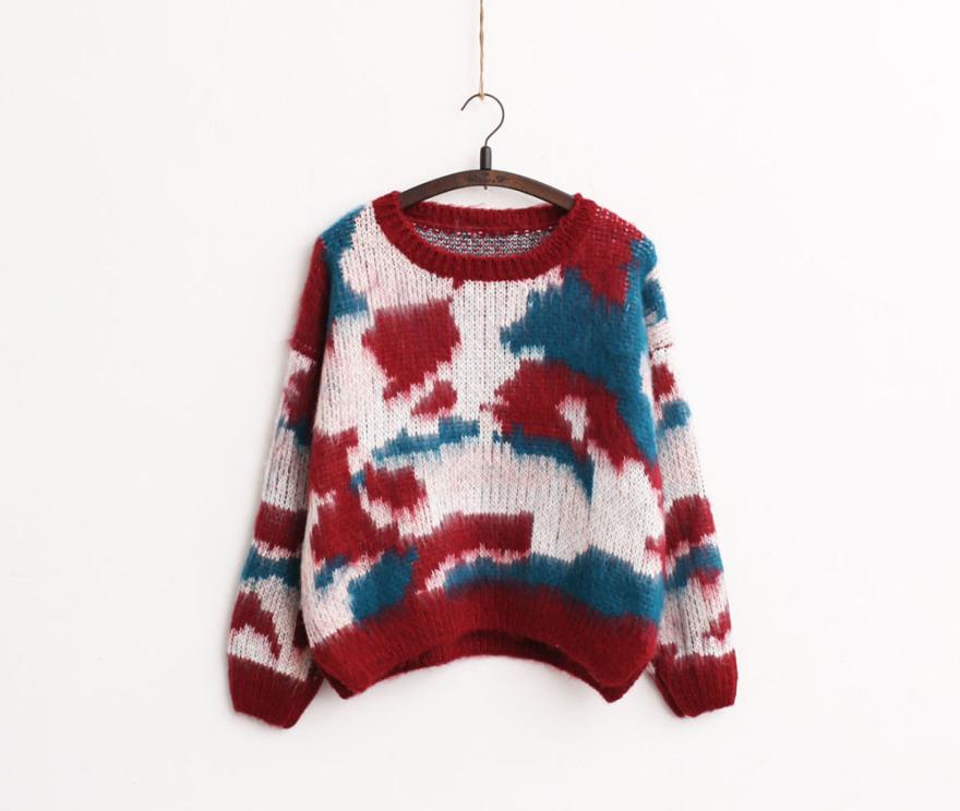 花纹毛绒编织时尚彩色抓绒毛衣