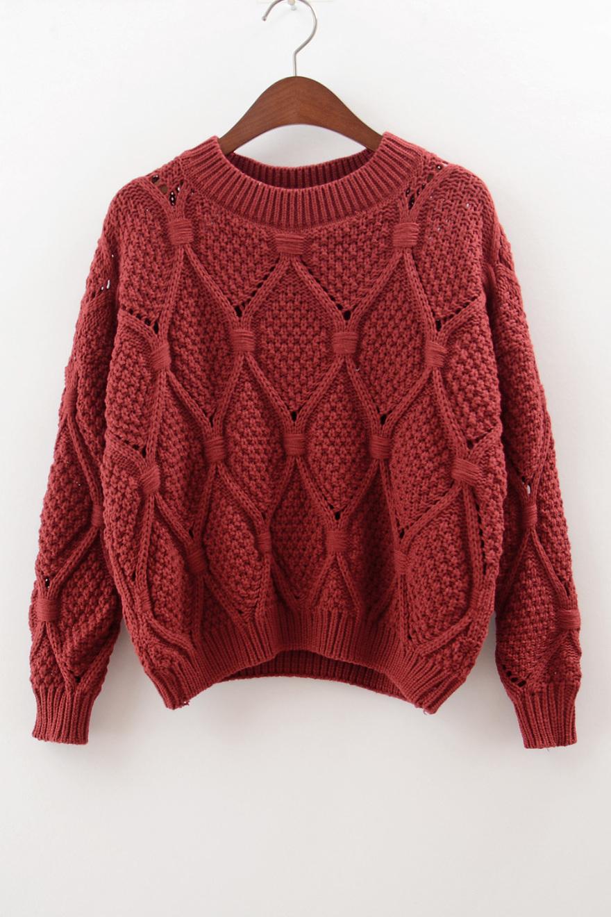 菱形镂空毛衣-来自蘑菇街优店
