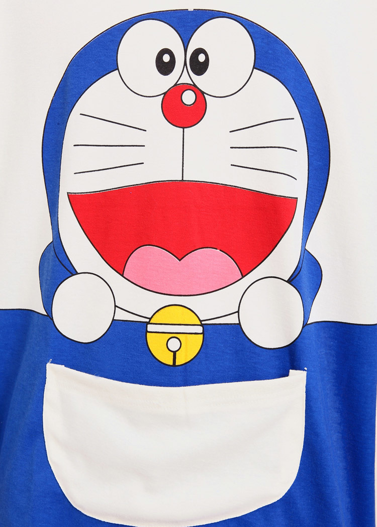 可爱秋款机器猫情侣纯棉睡衣