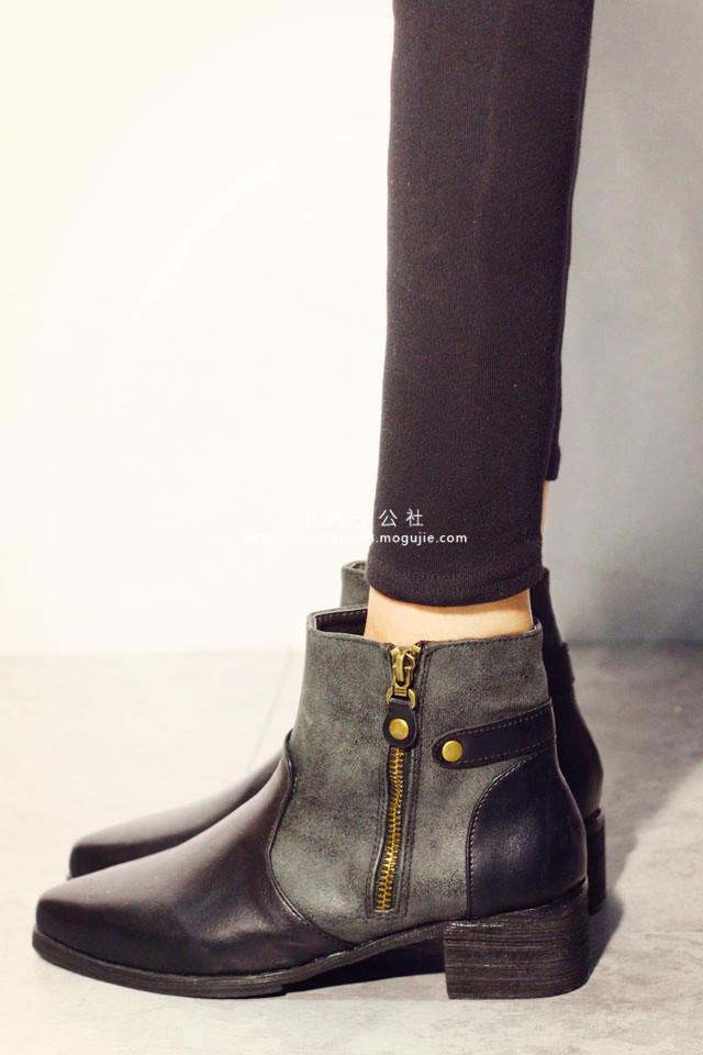 英伦风尖头短靴-来自蘑菇街优店