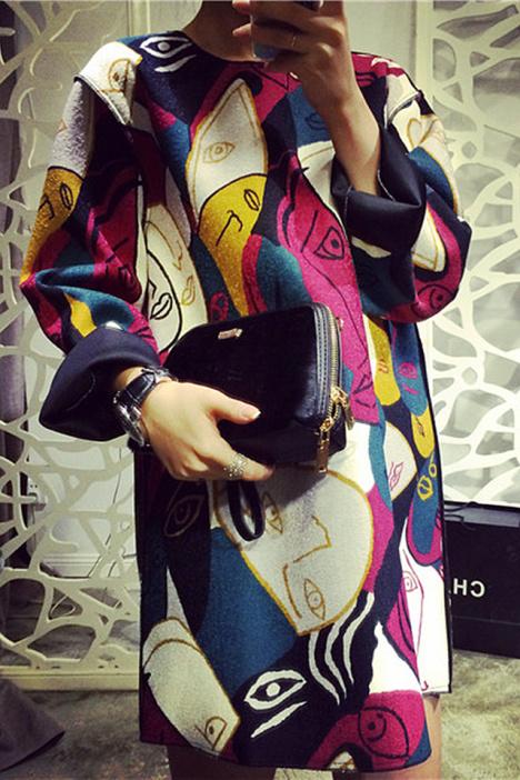毕加索抽象彩脸连衣裙