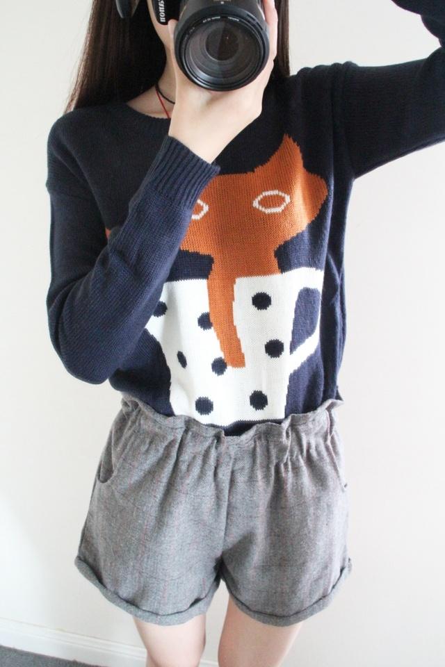 可爱猫咪卡通毛衣-来自蘑菇街优店