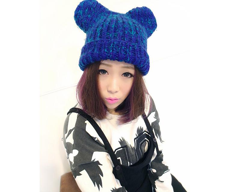 韩国可爱猫耳朵针织毛线帽子