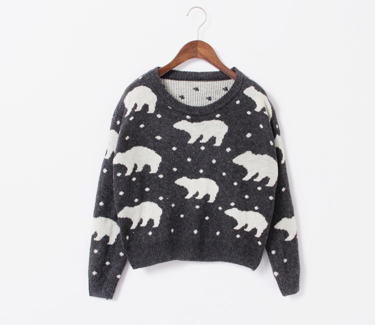 北极熊图案毛衣-来自蘑菇街优店