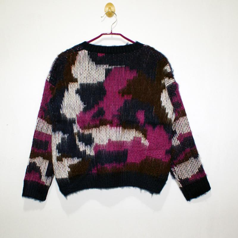 印象花纹毛绒编织彩色毛衣
