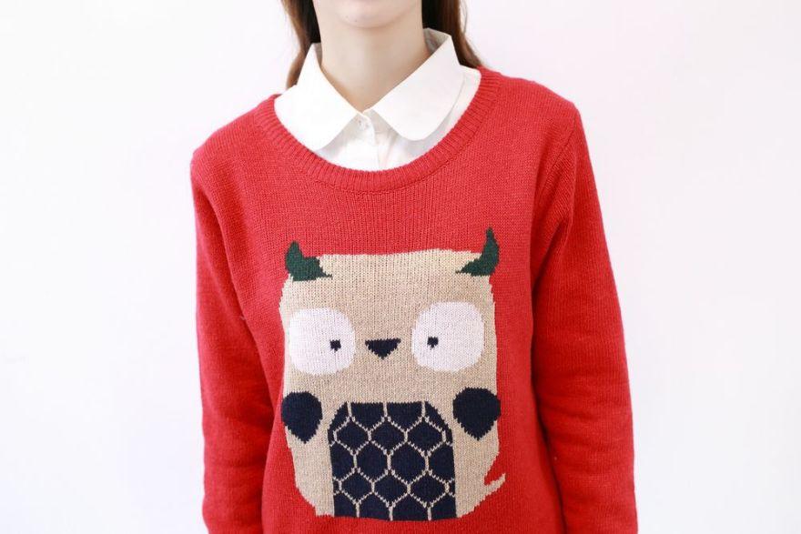 可爱猫头鹰毛衣