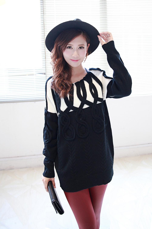 黑白撞色立体装饰气质欧美毛衣