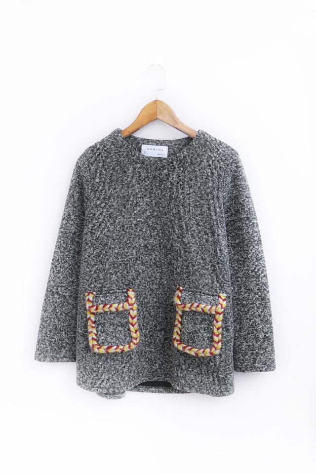 韩版毛线编织口袋针织套头毛衣