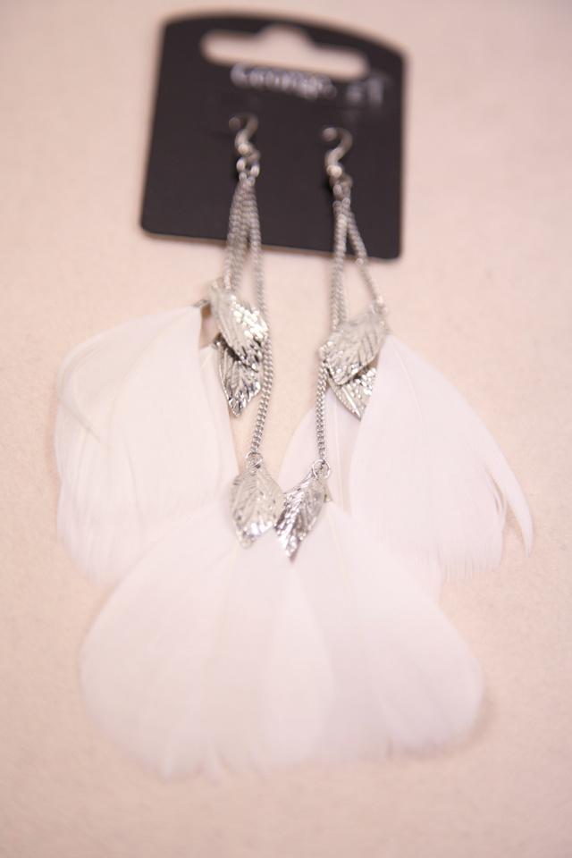 黑白流苏树叶羽毛长款耳环