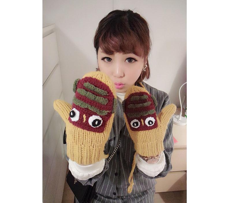 韩国纯手工编织女士可爱手套