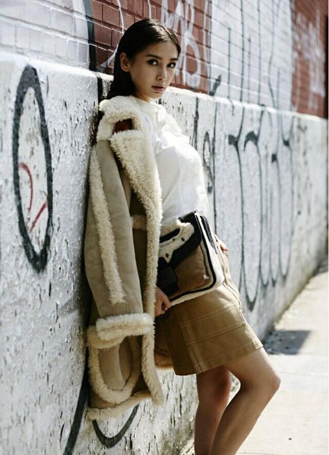 angelababy同款羊羔毛棉衣外套