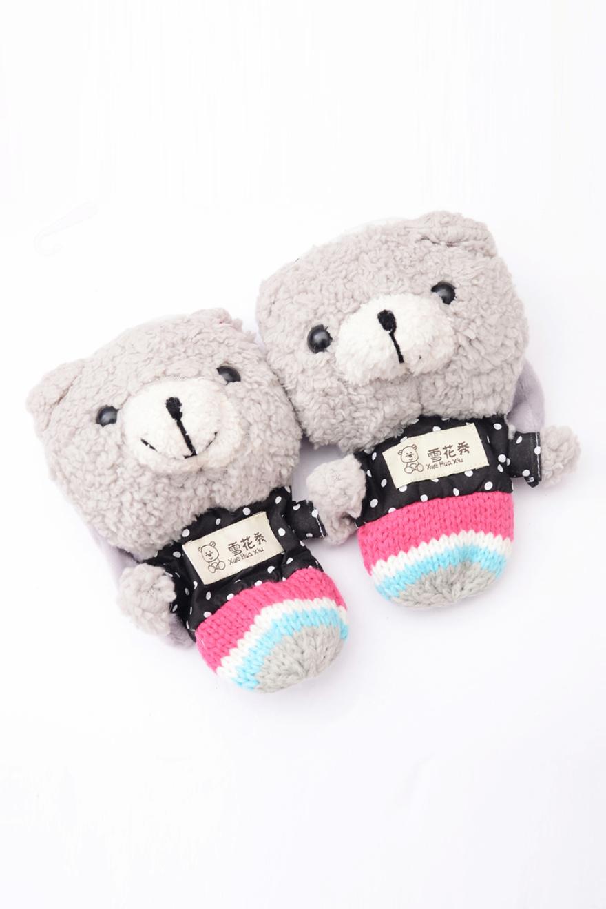 韩版可爱小熊脑袋复古保暖手套