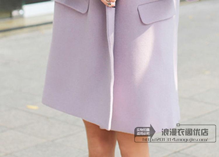 浪漫衣阁韩货新品香芋紫呢子大衣