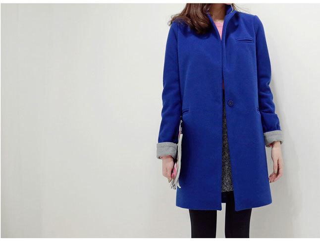 冬装新款宝蓝色羊毛呢子大衣