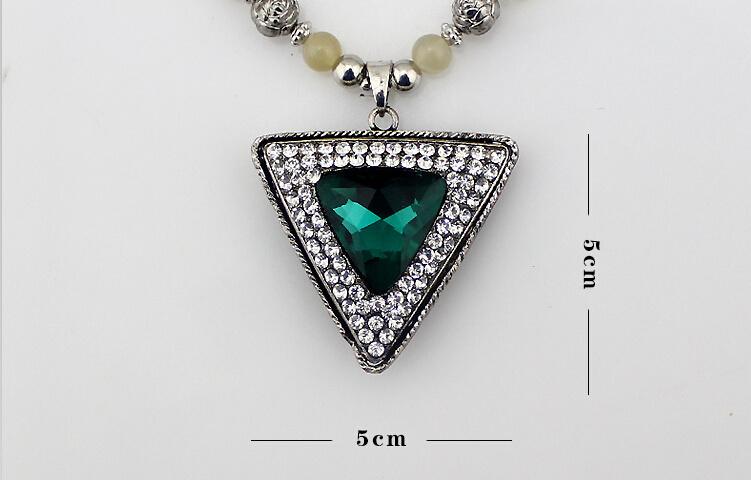 满钻三角宝石项链