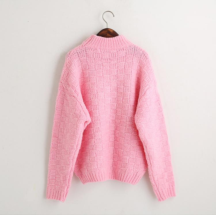 韩国新款半高领宽松编织毛衣