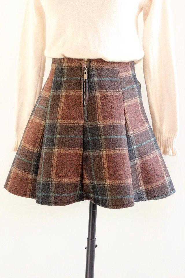 【图】秋冬新款英伦格子高腰半身裙搭配/价格-hxnd