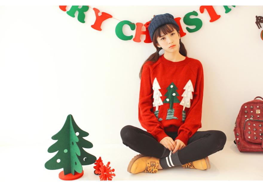 爱爱丸 穿袜子的圣诞树毛衣