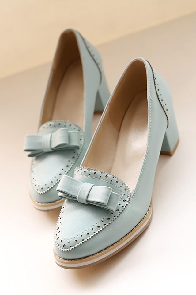 韩版甜美蝴蝶结尖头单鞋,甜美,可爱,时尚,复古粗跟,合适的高度,非常