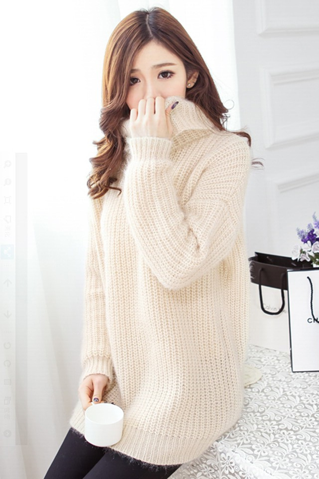 【图】韩版中长款高领加厚毛衣裙搭配/价格-alishal