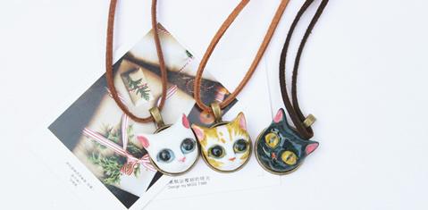 萌猫三剑客手绘黑白猫咪项链