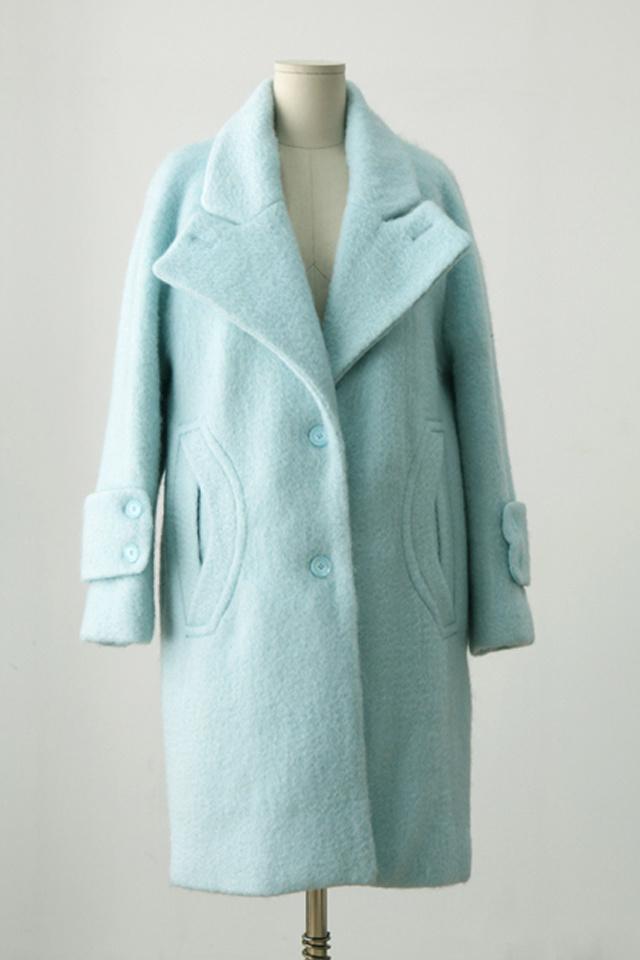 清新蓝绿色呢料外套