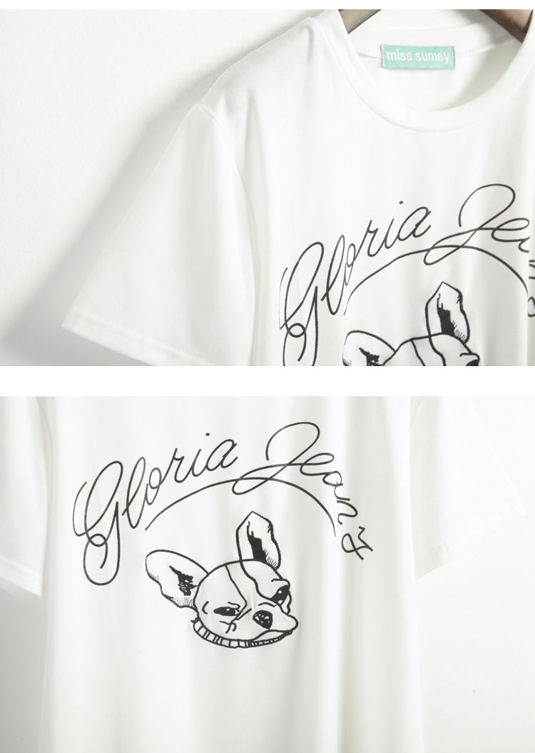 狗狗刺绣字母印花短袖t恤
