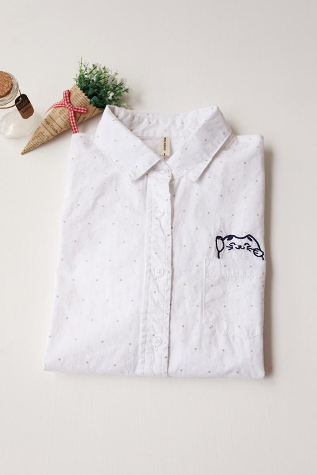 猫咪刺绣点点白色衬衫