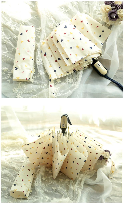 【桃子小姐】小清新爱心自动雨伞