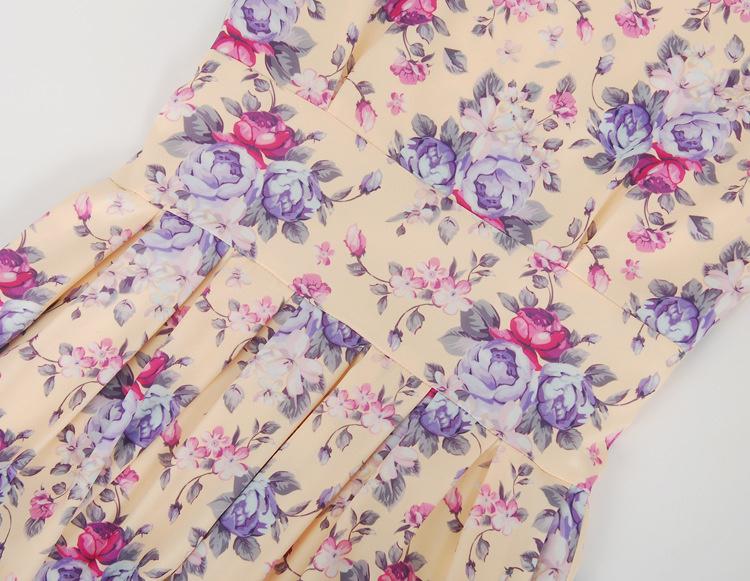 梦幻紫色玫瑰花碎花连衣裙送腰带