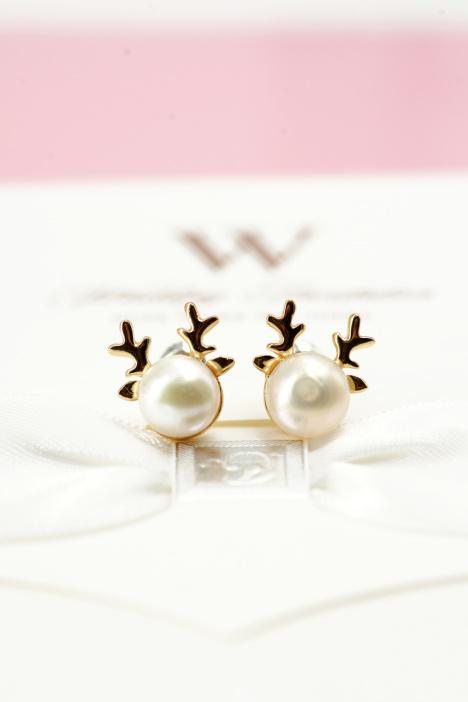 韩国原版可爱麋鹿珍珠耳钉