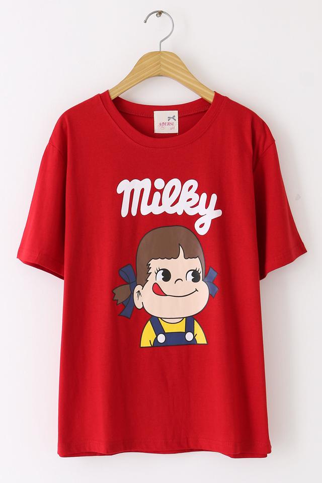 可爱女孩头像圆领t恤