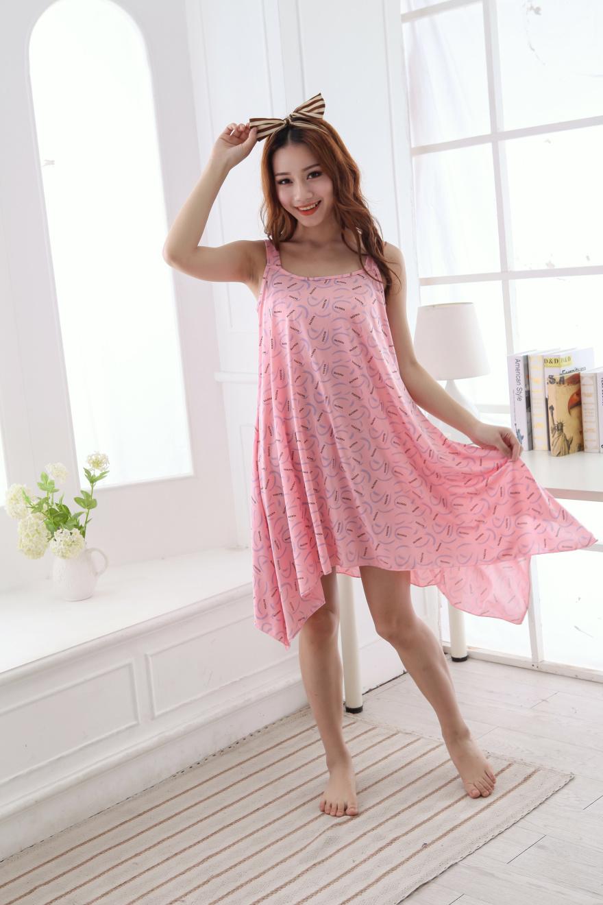韩版可爱休闲吊带睡裙-来自蘑菇街优店