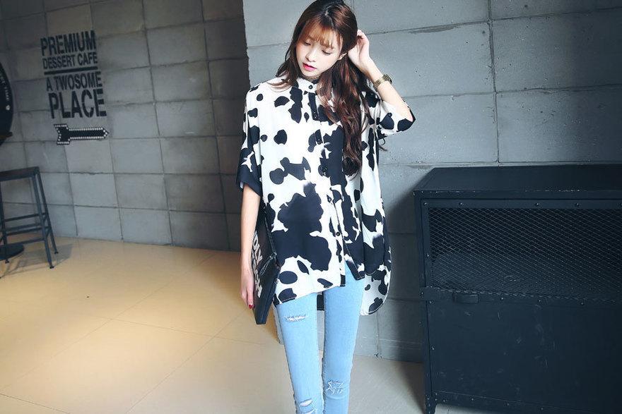 【爱丽丝】韩版气质宽松奶牛衬衫