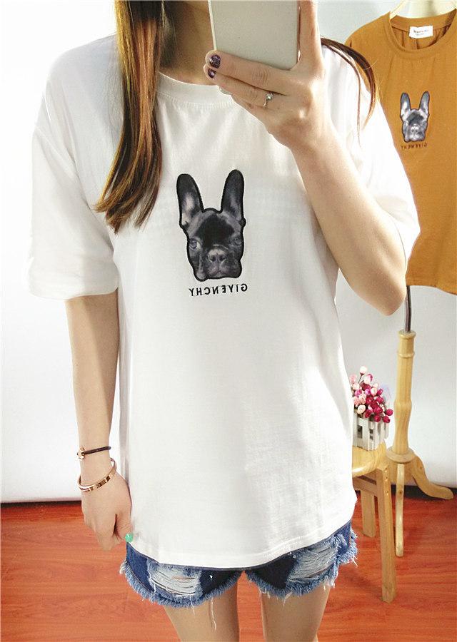 卡通狗狗刺绣短袖t恤