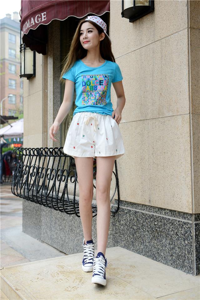 韩版宽松可爱蘑菇刺绣短裤-来自蘑菇街优店