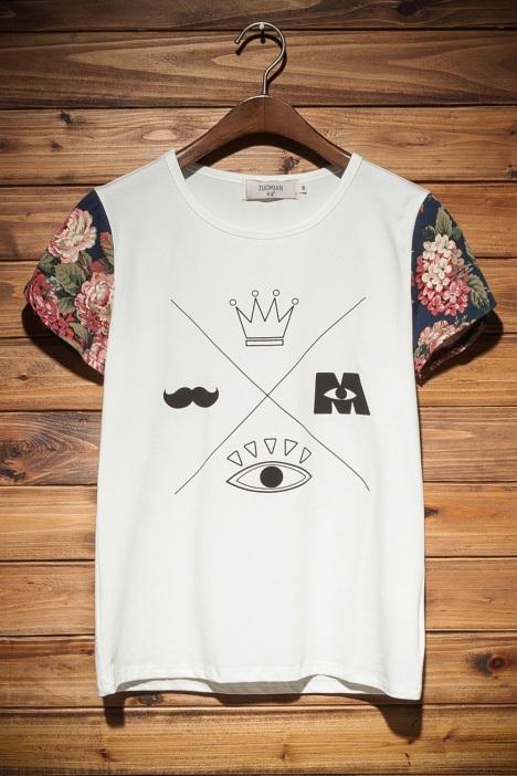 创意抽象图案拼接小清新t恤