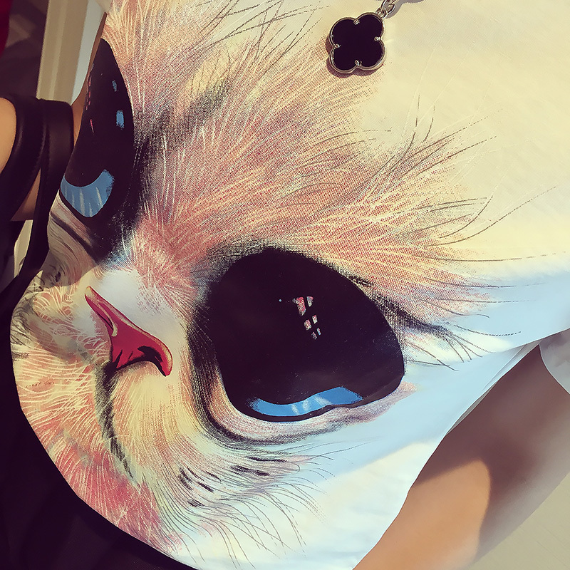 可爱猫头短袖t恤