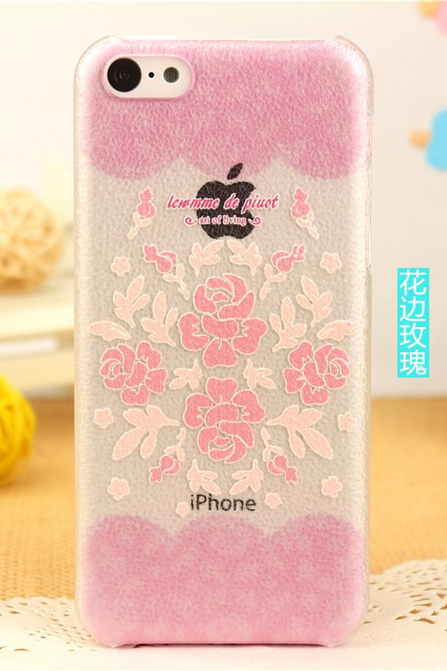 花边玫瑰透明苹果三星小米手机壳
