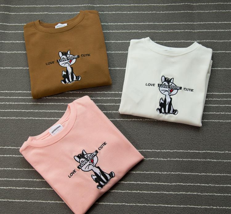 学院可爱卡通猫咪刺绣短袖t恤