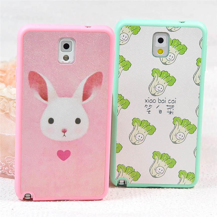 小白菜兔兔蚕丝皮硅胶三星手机壳