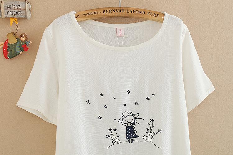 星星女孩刺绣棉麻t恤