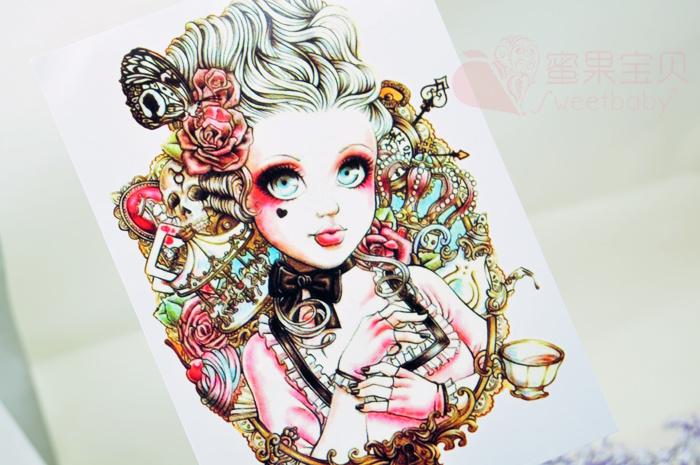 (ab款)大眼娃娃美女花臂纹身贴图片