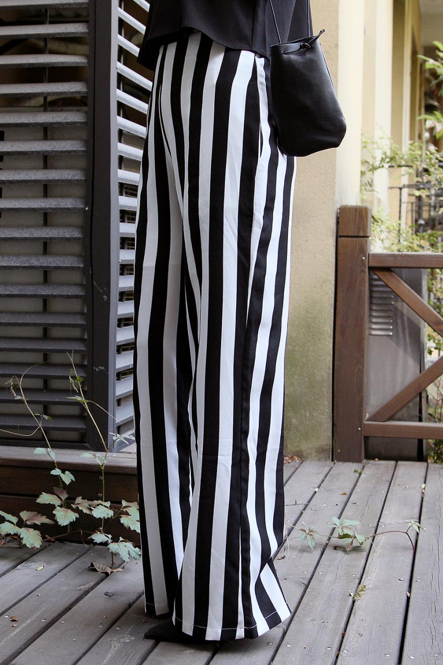 欧美风 雪纺料条纹显腿长阔腿裤