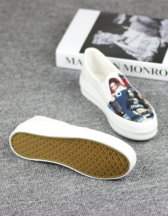 3d美女头像一脚蹬厚底帆布鞋