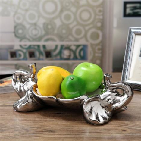 欧式高档大象果盆果盘奢华 陶瓷干果点心盘家居饰品结婚乔迁 礼品